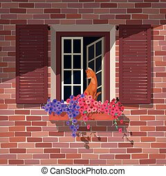 Open window and the cat - Illustration of open window with...