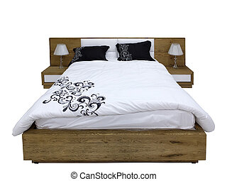 Modern wooden bed and two bedside tables with lamps on white...