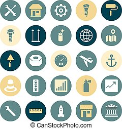 Flat design icons for industrial.