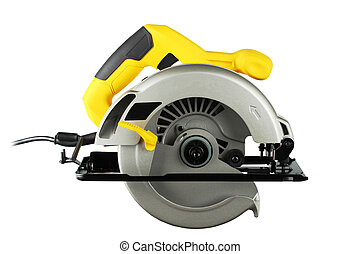 Circular saw - new, powerful circular saw on white...
