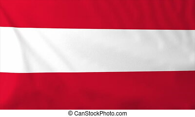 Flag of Austria, slow motion waving. Rendered using official...