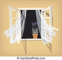 Open window - Illustration of open window with colorful...
