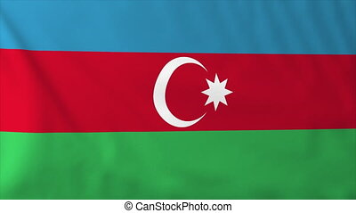 Flag of Azerbaijan, slow motion waving. Rendered using...