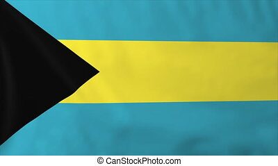Flag of Bahamas, slow motion waving. Rendered using official...