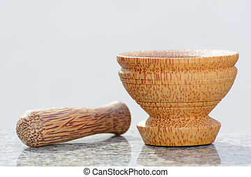 Pestle and mortar made of coconut t - Pestle and mortar made...