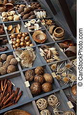 Stall of spices, dried flowers and seeds