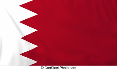Flag of Bahrain, slow motion waving Rendered using official...