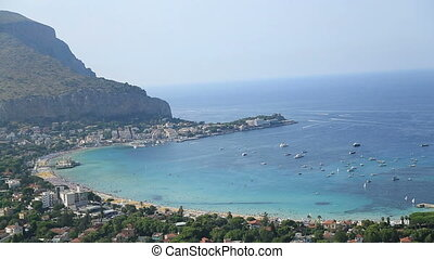 Beautiful beach areal view - Mondello beach areal view...
