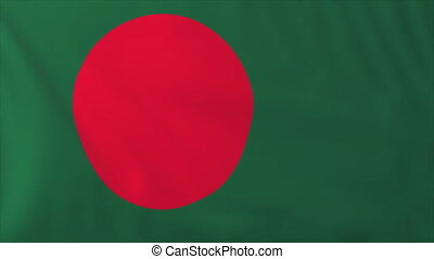 Flag of Bangladesh, slow motion waving Rendered using...