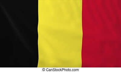 Flag of Belgium, slow motion waving. Rendered using official...
