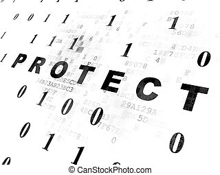 Protection concept: Protect on Digital background -...