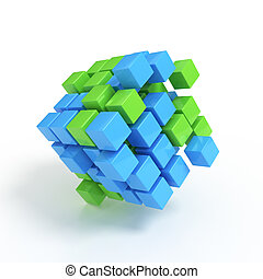 Business concept - 3D cubes render on white