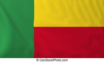 Flag of Benin, slow motion waving Rendered using official...