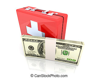 Cash aid emergency - 3D rendered Illustration