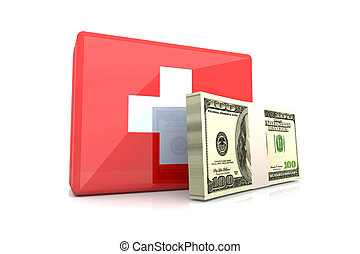 Cash aid emergency - 3D rendered Illustration.