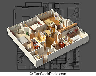 3D Furnished House Interior - 3D isometric rendering of a...