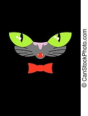 Green cat eyes and a red bow tie. Muzzle your pet on a black background.