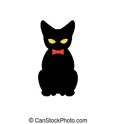Black cat with red bow tie. Silhouette of pet sitting. Vector illustration  animal on white background.
