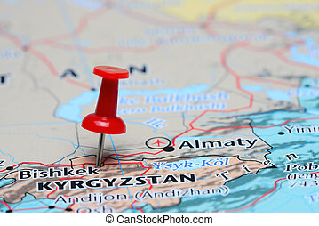 Bishkek pinned on a map of Asia - Photo of pinned Bishkek on...