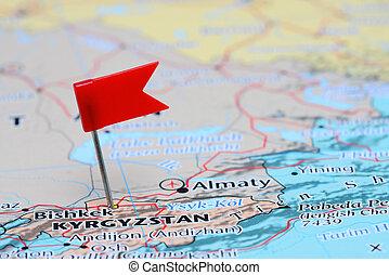 Bishkek pinned on a map of Asia - Photo of pinned Bishkek on...