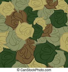 Rose army seamless pattern. Military texture of flowers....