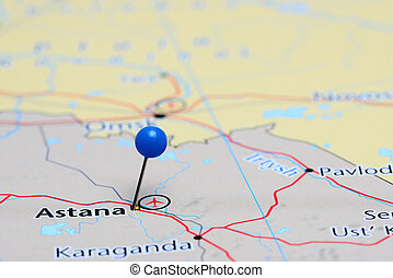 Astana pinned on a map of Asia - Photo of pinned Astana on a...