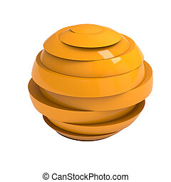 Sliced orange ball 3D render isolated with clipping path