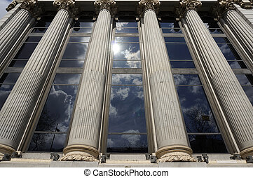 Facade Columns Windows Reflection