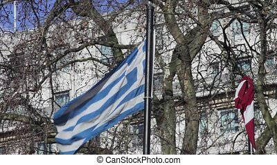 Greece Flag Flying at Strong Wind