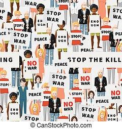Antiwar demonstration, crowd of flat people, seamless pattern