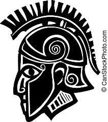 Spartan Soldier Profile - Woodcut style classical spartan...