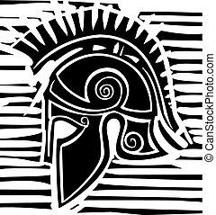 Hoplite Greek Helmet Profile - Woodcut style classical...