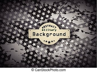 Camouflage military monochrome pattern with stars  background. Vector illustration, EPS10