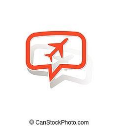 Plane message sticker, orange