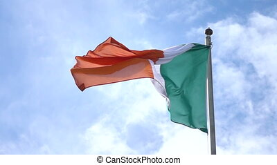 Flag of Ireland - The Irish national flag waving in the wind...