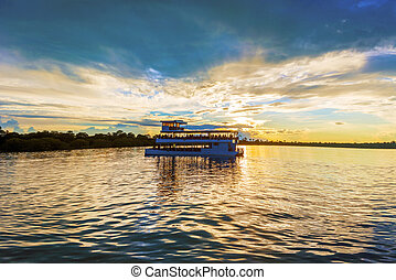 Landscape over Zambezi river - Picturesque sunset landscape...