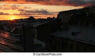 Rooftops of the old center of St Petersburg at night time