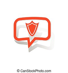 Shield message sticker, orange chat bubble with image...
