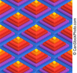 Colorful 3D boxes background - Colorful 3D boxes pyramid...