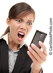 Funny businesswoman reading bad news text message - SMS....
