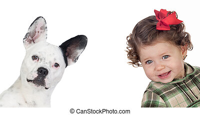Beautiful baby girl and funny dog isolated on a over white...