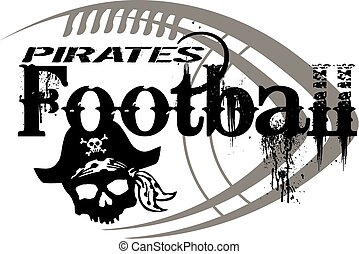 pirates football team design with ball and skull