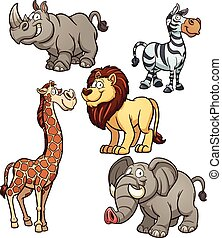 African animals - Cartoon African animals. Vector clip art...