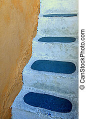 Detail of traditional steps in Oia, Santorini island, Greece...