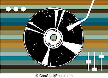 Disco music background. - Vinyl on a background of colored...