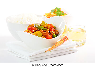 Chinese Food - Delicious chinese food on a white backgound.