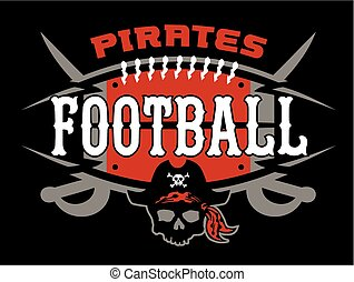 pirates football team design with ball and crossed skull