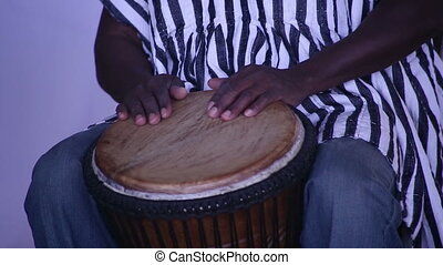 Drummer from Africa plays drums