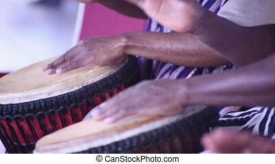 Drummers from Africa play drums