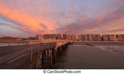 The Belgium Pier at dusk City of Blankenberge, West...